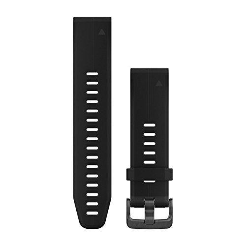 Garmin 010-12739-07 Quickfit 20 Watch Band - Black Silicone (Large) - Accessory Band for Fenix 5S Plus/Fenix 5S