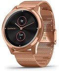 Garmin Vivomove 3 Luxe, Hybrid Smartwatch with Included Wearable4U Ultimate Black Earbuds with Charging PowerBank Case Bundle (18K Rose Gold/Black, Milanese)