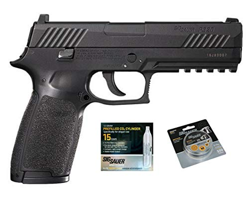SIG Sauer P320 Air Pistol w/ CO2 12 Gram (15 Pack) & 500 Lead Pellets Bundle