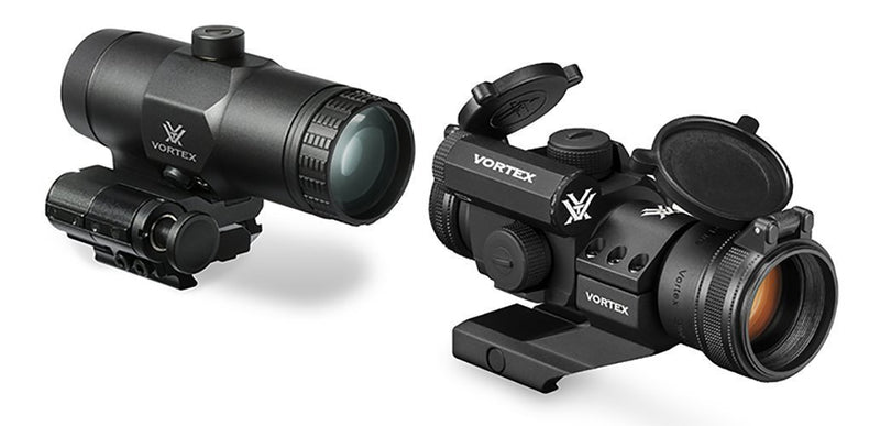 Vortex Optics StrikeFire II Bright Red Dot Sight Scope With Cantilever Mount and VMX-3t Magnifier with Flip To Side Mount Bundle