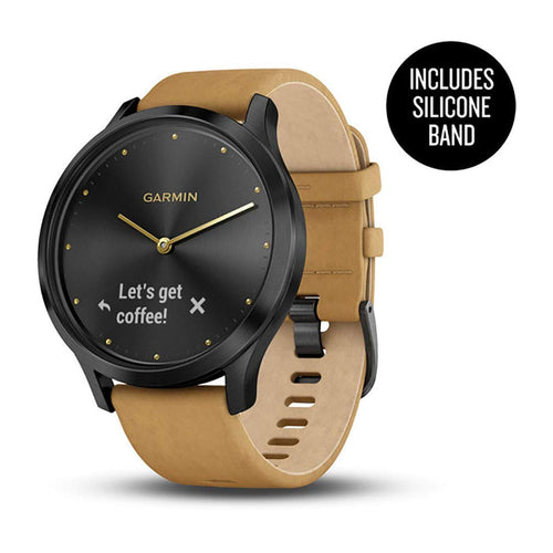 Garmin vívomove HR, Hybrid Smartwatch for Men and Women, Black with Tan Suede Band