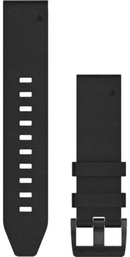 Garmin 010-12740-01 Quickfit 22 Watch Band - Black Leather - Accessory Band for Fenix 5 Plus/Fenix 5