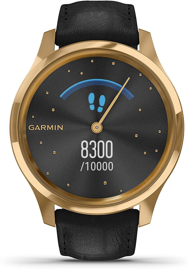 Garmin Vivomove 3 Luxe, Hybrid Smartwatch with Included Wearable4U Ultimate White Earbuds with Charging PowerBank Case Bundle (24K Gold/Black, Leather)