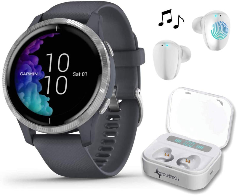 Garmin Venu GPS Smartwatch with AMOLED Display and Wearable4U Ultimate White EarBuds with Charging Power Bank Case Bundle (Granite Blue/Silver)