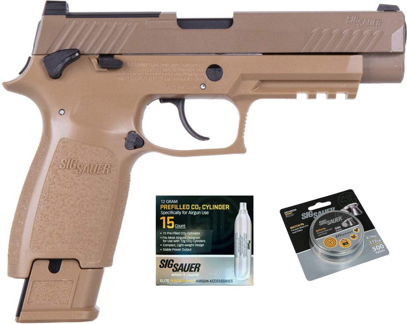 SIG Sauer M17 Air Pistol w/ CO2 12 Gram (15 Pack) & 500 Lead Pellets Bundle