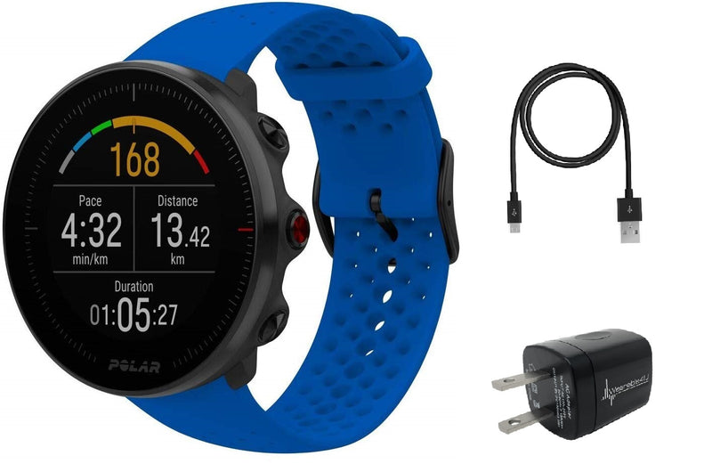 Polar Vantage M Advanced Multisport GPS Watch and Wearable4U Wall Charger Bundle (M/L (140-210mm Wrist), Blue)