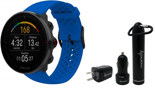 Polar Vantage M Advanced Multisport GPS Watch and Wearable4U Ultimate Power Pack Bundle (M/L (140-210mm Wrist), Blue)