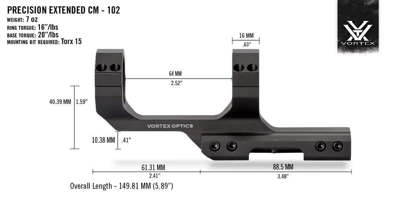 Vortex Optics Sport Cantilever Mount, 2-Inch Offset for 1-Inch Telescopic Sight
