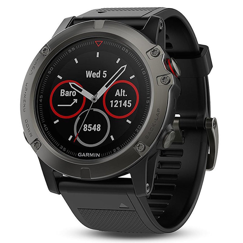 Garmin Fenix 5X Sapphire Metal grey color with black silicone band