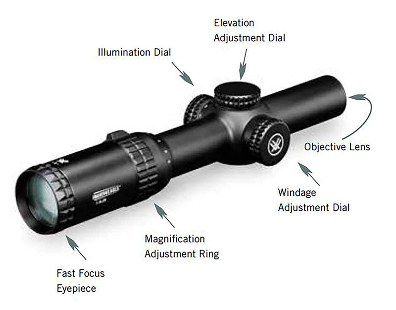 Vortex Optics Strike Eagle 1-6x24 Second Focal Plane Riflescope - BDC Reticle (MOA) with Vortex Hat