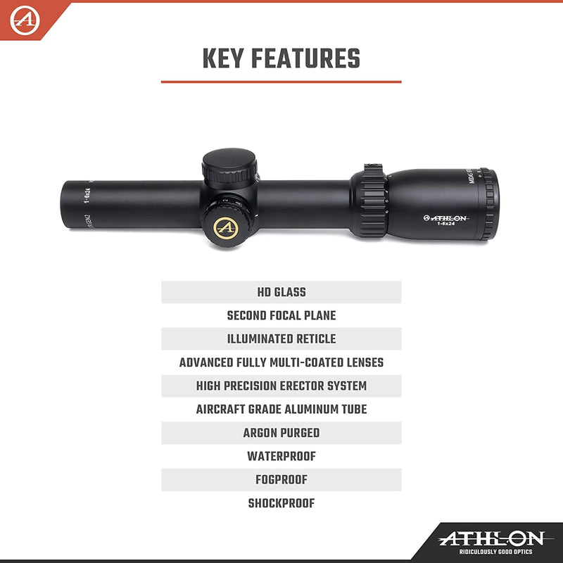 Athlon Optics Midas BTR 1-6x24, 30mm Riflescope with included Extra Battery CR2032 and Wearable4U Lens Cleaning Pen and Lens Cleaning Cloth Bundle