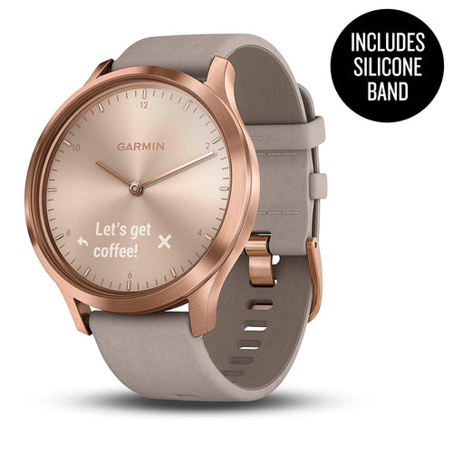 Garmin vívomove HR, Hybrid Smartwatch for Men and Women, Rose Gold with Gray Suede Band
