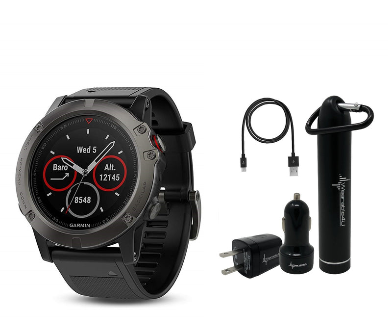 Garmin Fenix 5X Sapphire Multisport GPS Watch with Preloaded Topo Maps and Wearable4U Ultimate Power and Screen Protection Bundle (Color: Slate Gray with Black Band)