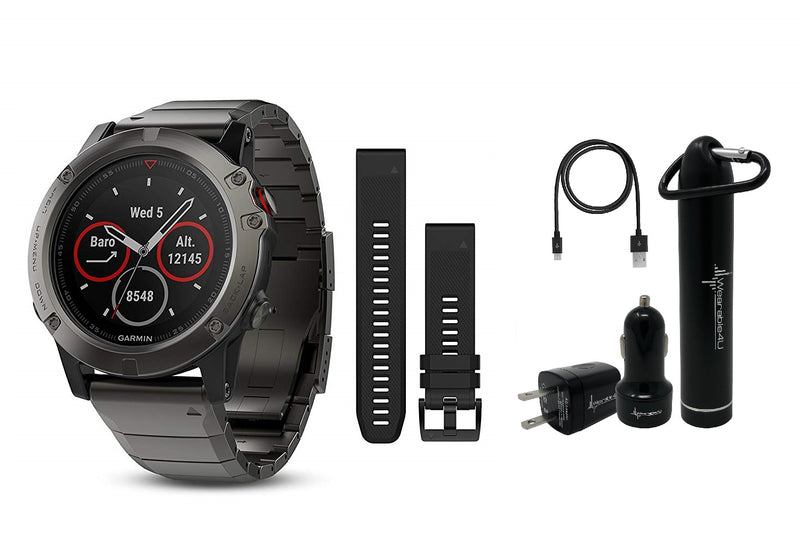 Garmin Fenix 5X Sapphire Multisport GPS Watch with Preloaded Topo Maps and Wearable4U Ultimate Power and Screen Protection Bundle (Slate Gray with Metal Band)