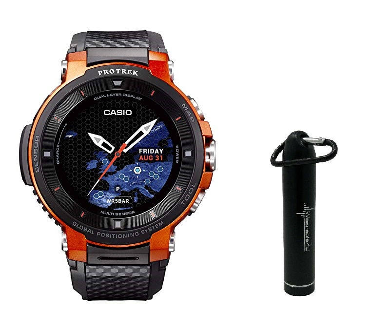 Casio Pro Trek WSD-F30 Outdoor GPS Touchscreen Smartwatch with Included Wearable4U Mobile Power Bank 2200mAh Bundle