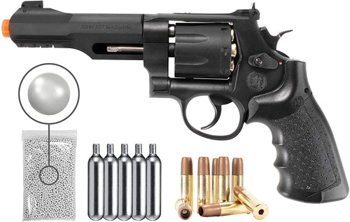 Umarex Smith and Wesson M&P R8 CO2 Airsoft BB Pistol Airsoft Gun with Included 8 Pack Gold Cartridges and CO2 12 Gram (5 Pack) Pack of 1000ct BBS Bundle