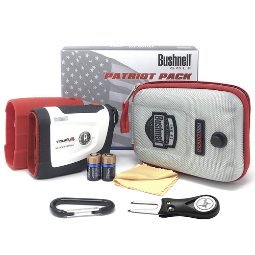 Bushnell Tour V4 Shift Laser Golf Rangefinder (Patriot Pack+Battery+Fork)