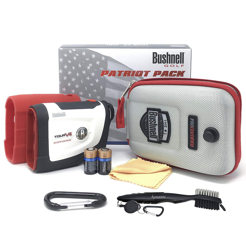 Bushnell Tour V4 Shift Laser Golf Rangefinder (Patriot Pack+Battery+ Brush)