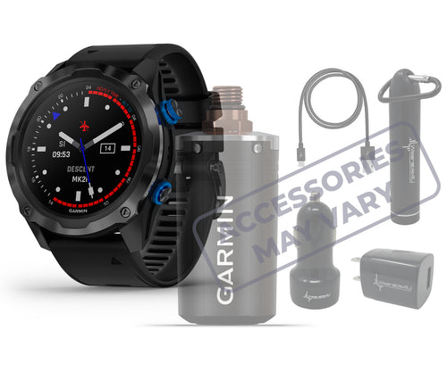 Garmin Descent Mk2i, Watch-Style Dive Computer with Air Integration, Multisport Training/Smart Features (Titanium Carbon Gray DLC with Black Band) with Wearable4U Power Bank or with Car and Wall Chargers or with Garmin Descent T1 Transmitter Bundle