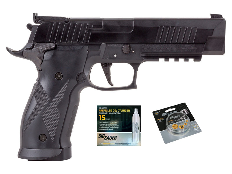 SIG Sauer X-Five Air Pistol w/ CO2 12 Gram (15 Pack) & 500 Lead Pellets Bundle