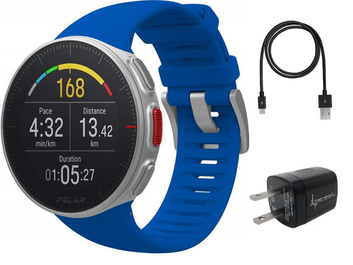 Polar Vantage V Pro Multisport GPS Watch Wearable4U Wall Charging Adapter Bundle (Blue)