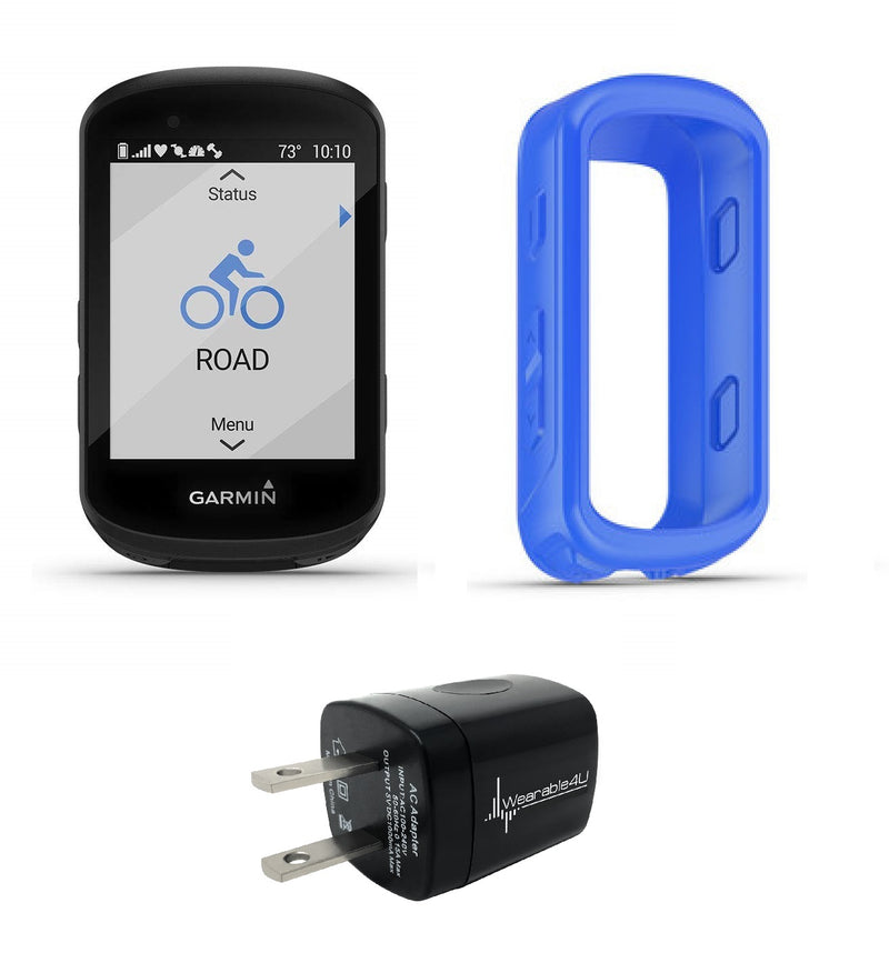 Garmin Edge 530 GPS Cycling Computer with Included Original Garmin Silicone Case and Wearable4U Wall Charging Adapter Bundle