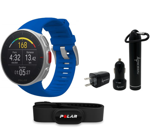 Polar Vantage V Pro Multisport GPS Watch and Wearable4U Ultimate Power Pack Bundle (Blue with HR)