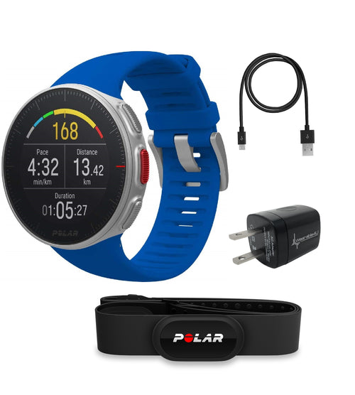 Polar Vantage V Pro Multisport GPS Watch Wearable4U Wall Charging Adapter Bundle (Blue with HR)