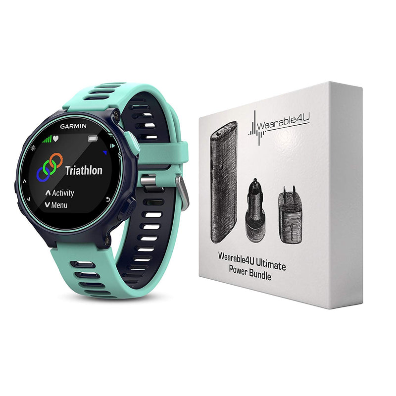 Garmin Forerunner 735XT GPS Running Watch with MultiSport Features and Wrist-based Heart Rate and Wearable4U Ultimate Power Pack Bundle