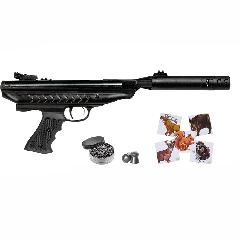 Hatsan MOD 25 SuperCharger QuietEnergy Air Pistol and Targets and Pellets Bundle