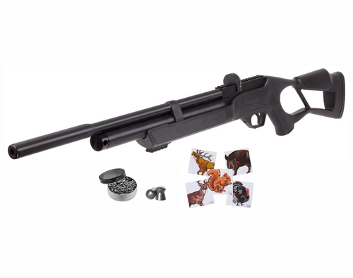 Hatsan Flash QE .25 Cal Pellet Bolt Action AirRifle with Pack of Pellets and Paper Targets Bundle
