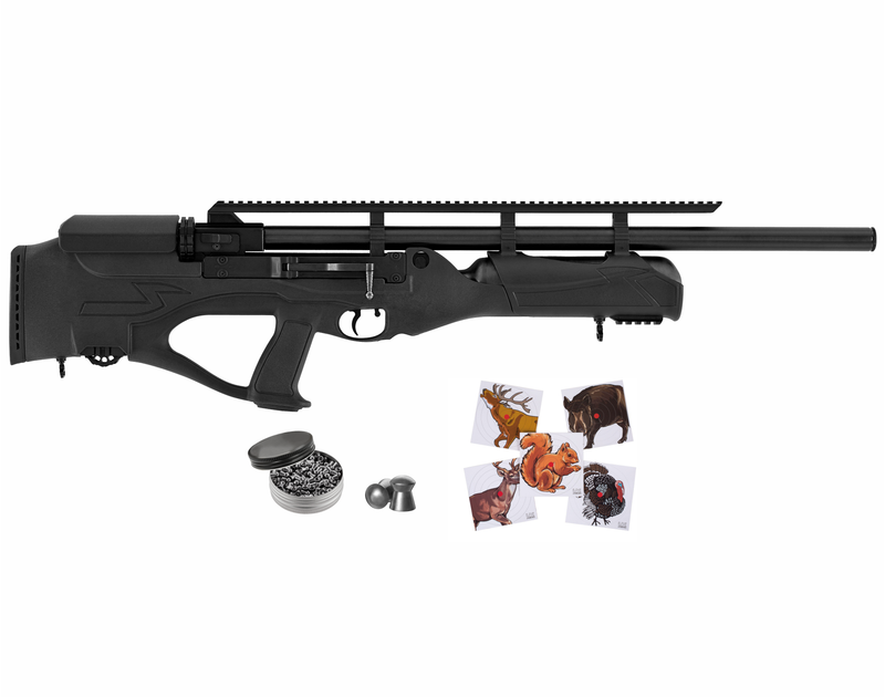 Hatsan Hercules Bully PCP Air Rifle with Included Wearable4U 100x Paper Targets and Lead Pellets Bundle