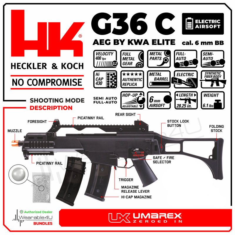 Wearable4U Umarex HK H&K G36C AEG by KWA Elite 6mm BB Rifle Airsoft Gun Pack of 1000 6mm BBS Bundle Click image to open expanded view Wearable4U Umarex HK H&K G36C AEG by KWA Elite 6mm BB Rifle Airsoft Gun with Wearable4U Pack of 1000 6mm BBs Bundle