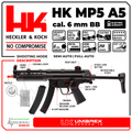 Umarex HK Heckler&Koch MP5 A5 Elite Series AEG Automatic 6mm BB Rifle Airsoft Gun with Wearable4U Bundle