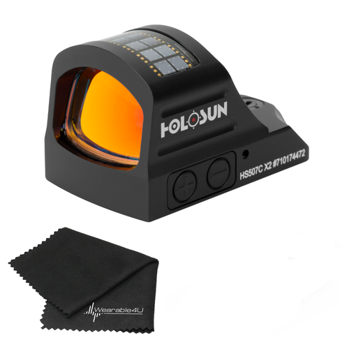 Holosun Circle Dot/Solar Panel HS507C with included Wearable4U Lens Cleaning Towel Bundle