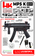Umarex Heckler & Koch HK MP5K Airsoft Rifle Black, Multi with Wearable4U Bundle