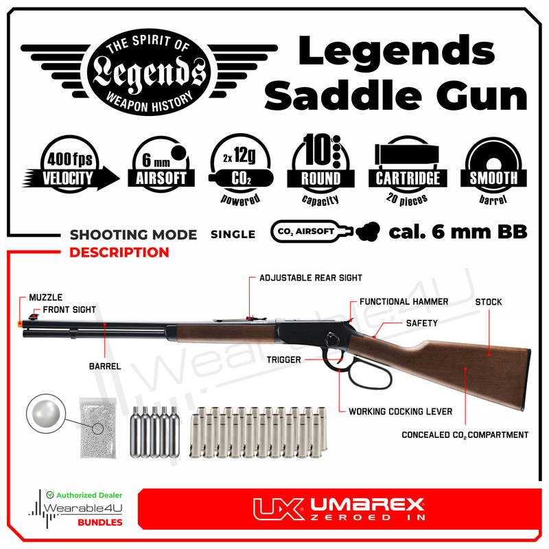 Umarex Limited Edition - Legends Saddle Gun- Lever Action 6mm BB Airsoft Gun with Wearable4U Bundle