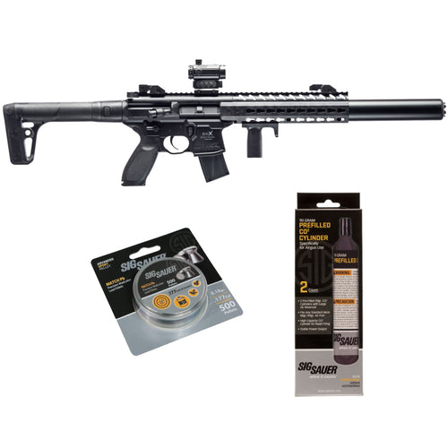 SIG Sauer MCX .177 Cal Air Rifle w/ CO2 90 Gram (2 Pack) 500 Lead Pellets Bundle