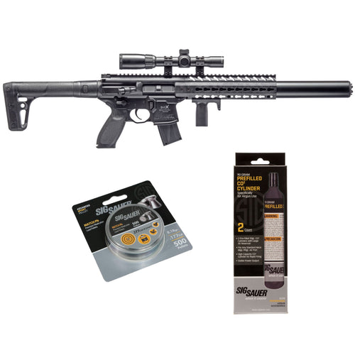 SIG Sauer MCX .177 Cal Air Rifle w/ Scope, CO2 90 Grams 500 Lead Pellets Bundle