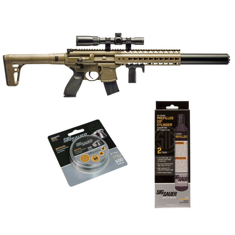 SIG Sauer MCX .177 Cal Air Rifle w/ Scope CO2 90 G 2-Pack 500 Lead Pellet Bundle