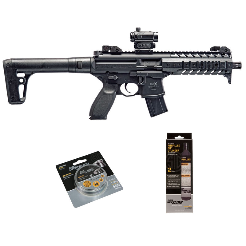 SIG Sauer MPX .177 Cal Red Dot Air Rifle w/ CO2 90 Gram 500 Lead Pellets Bundle