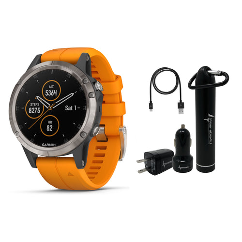 Garmin Fenix 5 Plus Premium Multisport GPS Watch and Wearable4U Ultimate Power Pack Bundle (Sapphire/Titanium with Orange band)