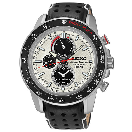 Seiko Sportura White Dial SS Leather Chrono Solar Quartz Men's Watch SSC359