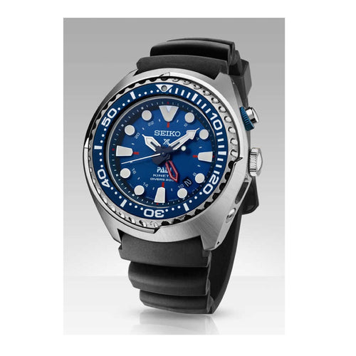 Seiko Prospex Special Edition Padi Kinetic GMT Diver Watch SUN065 with black silicone band