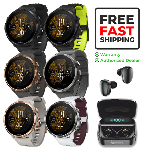 SUUNTO 7 GPS Sports Smartwatch with Versatile Sports Experience with Wearable4U EarBuds Power Bundle
