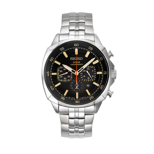 Seiko Recraft Solar Chronograph Stainless Steel Casual Silver-Toned Men's Watch SSC511