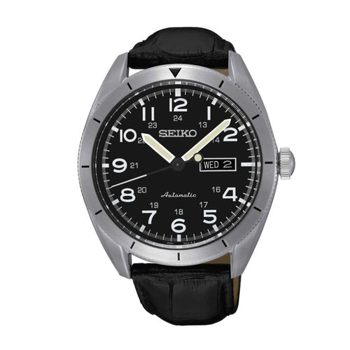 Seiko Core Black Dial Automatic Men's Watch SRP715 with black leather band