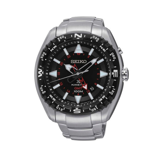 Seiko Prospex Kinetic Stainless Steel Black Dial Men's Watch SUN049