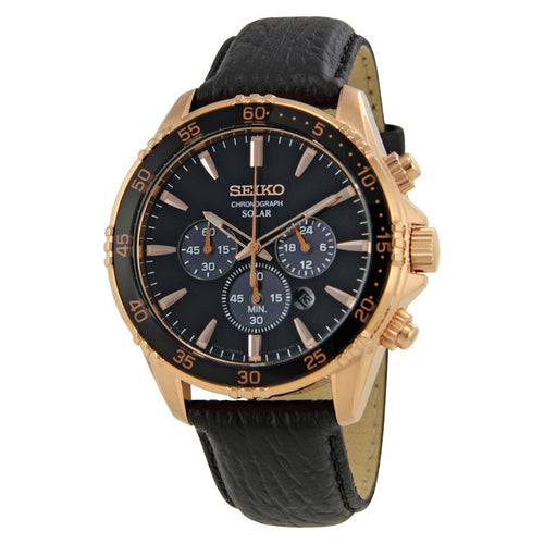 Seiko Core Solar Chronograph Quartz Gold and Black Leather Dress Men's Watch SSC448