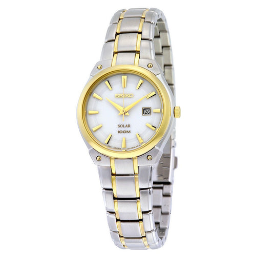 Seiko Core Solar Analog Display Japanese Quartz Two Tone Women's Watch SUT128